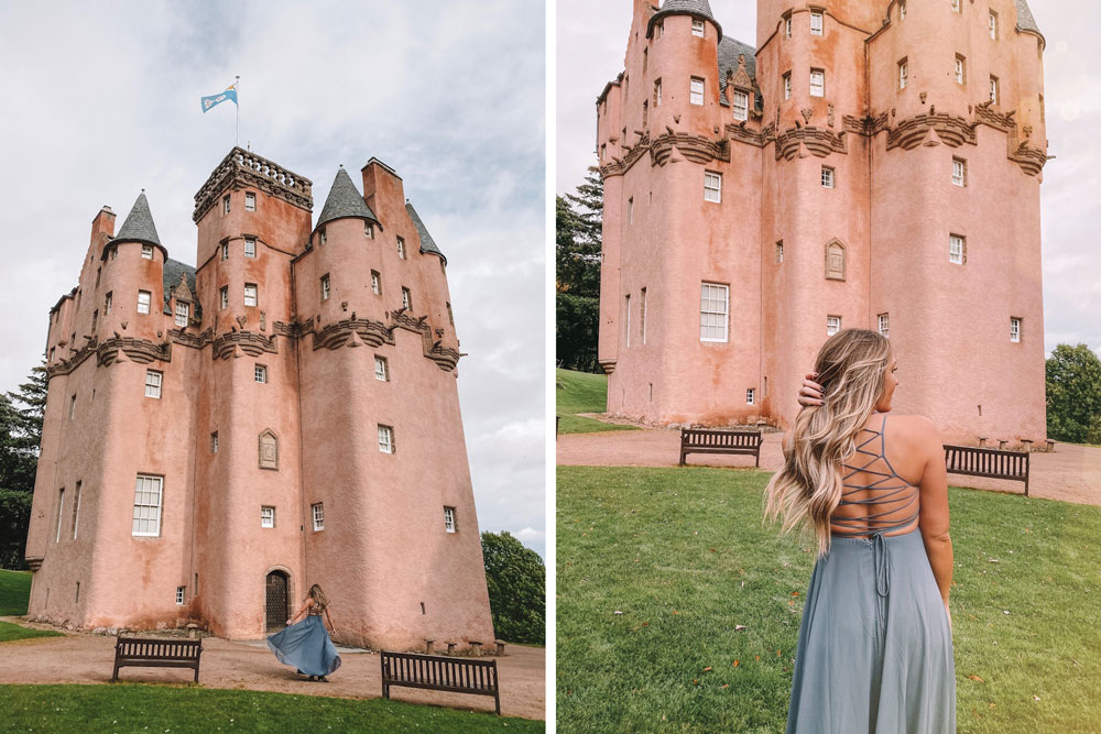 travel blogger Amanda Martin as a princess at Craigievar Castle in Scotland
