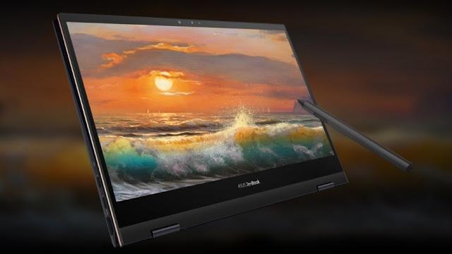 Menggambar di laptop Asus Zenbook dengan stylus pen