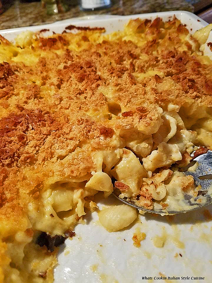 this is chicken with cheese pasta baked in a casserole dish