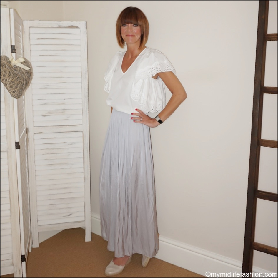 my midlife fashion, see by Chloe broderie anglaise detail top, Massimo Dutti wrap maxi skirt, carl scarpa Brittany beige metallic sandals