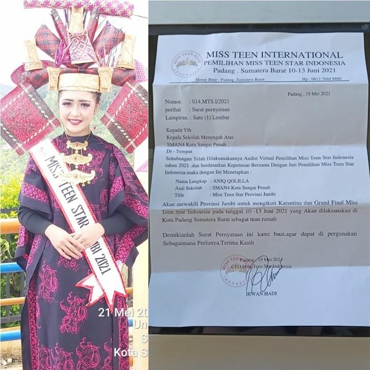 Salut ! Siswi SMA N 4 Sungai Penuh Wakili Jambi Ajang Miss Teen Star Indonesia Di Padang
