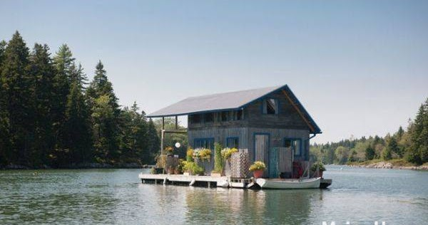 Tiny house town 240 sq ft floating cabin in maine for Building a house in maine