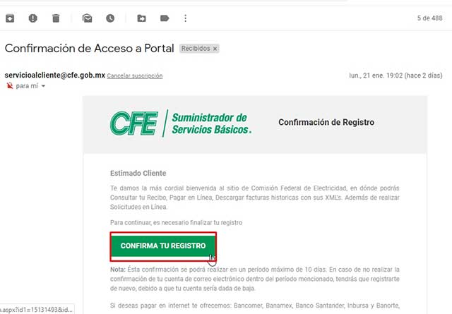 confirmación de acceso al portal CFE