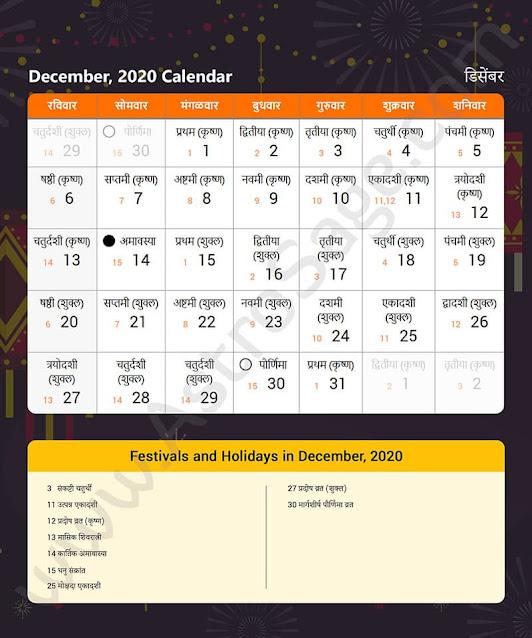 Marathi Calendar for December 2020
