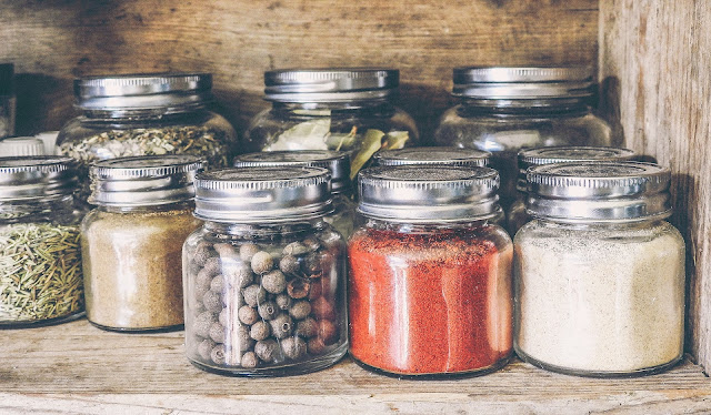 List of spices stored in glass jars