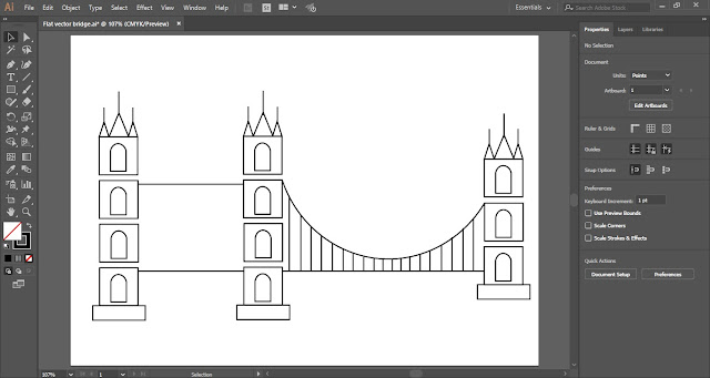 Flat Vector Bridge in Adobe Illustrator