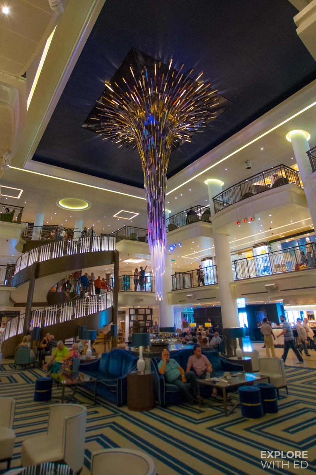 The atrium and starburst artwork onboard P&O Cruises Britannia