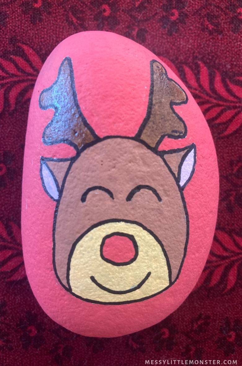 Christmas rock painting - Reindeer craft