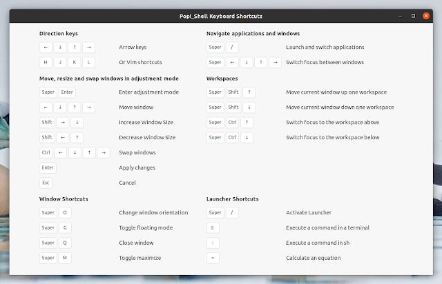 Pop Shell keyboard shortcuts