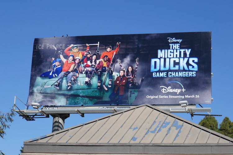 Mighty Ducks Game Changers series launch billboard