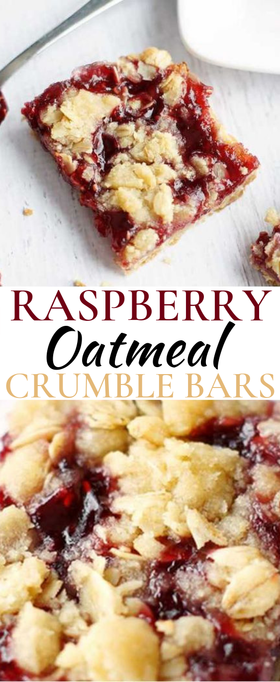 Raspberry Oatmeal Crumble Bars #desserts #bars