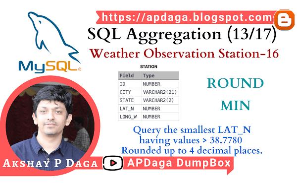HackerRank: [SQL Aggregation - 13/17] Weather Observation Station-16 | ROUND, MIN function in SQL