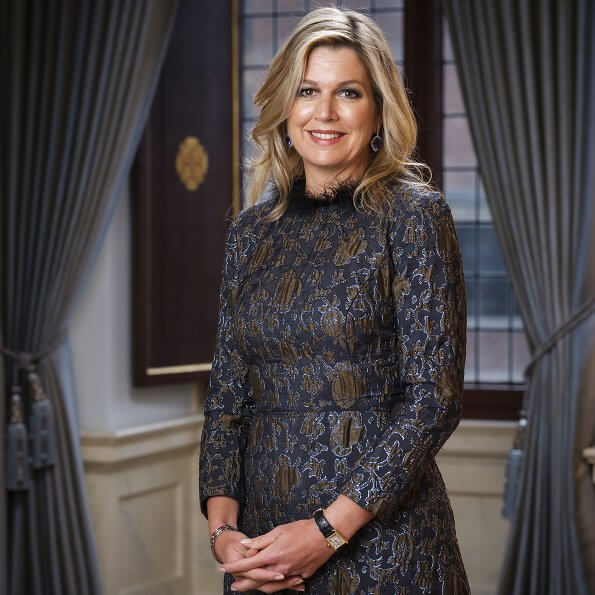 Queen Maxima wore Natan dress from Couture FW17 collection. Princess Catharina-Amalia, Princess Alexia and Princess Ariane
