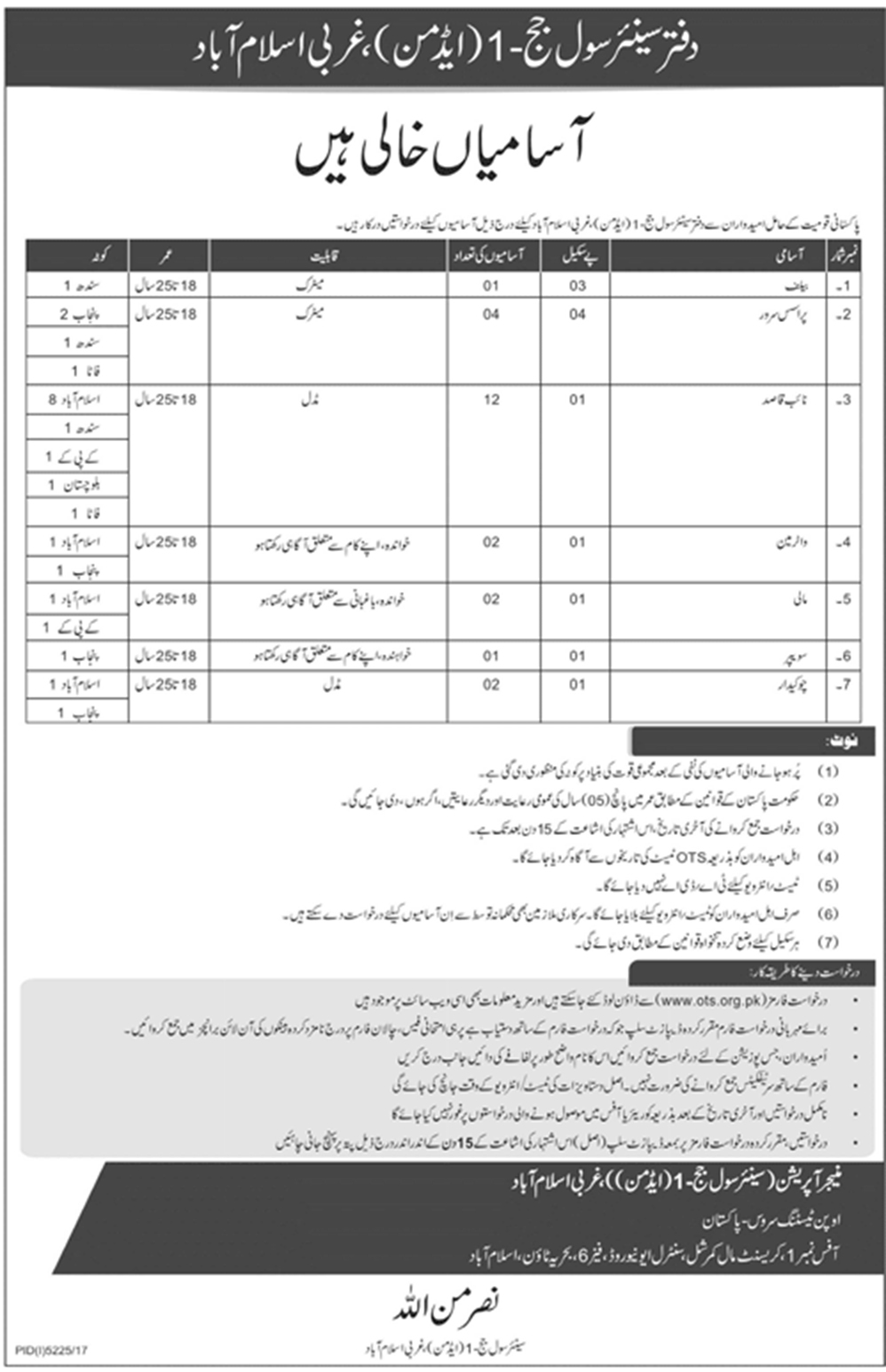 Jobs In Office Of The Senior Civil Judge March 2018 via OTS