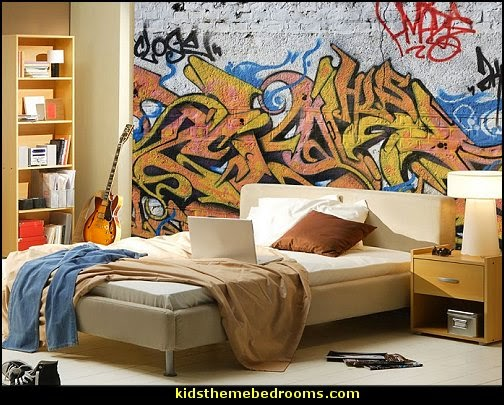 Decorating theme bedrooms maries manor graffiti wall murals urban style punk theme bedroom Painting graffiti on bedroom walls