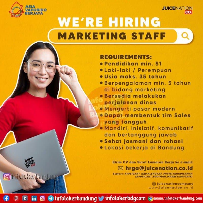 Lowongan Kerja PT. Asia Vaporindo Berjaya (Juice Nation ) Bandung Januari 2021