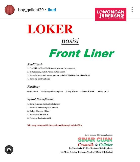 Lowongan Kerja Front Liner Sinar Cuan Cosmetik & Celluler Rembang