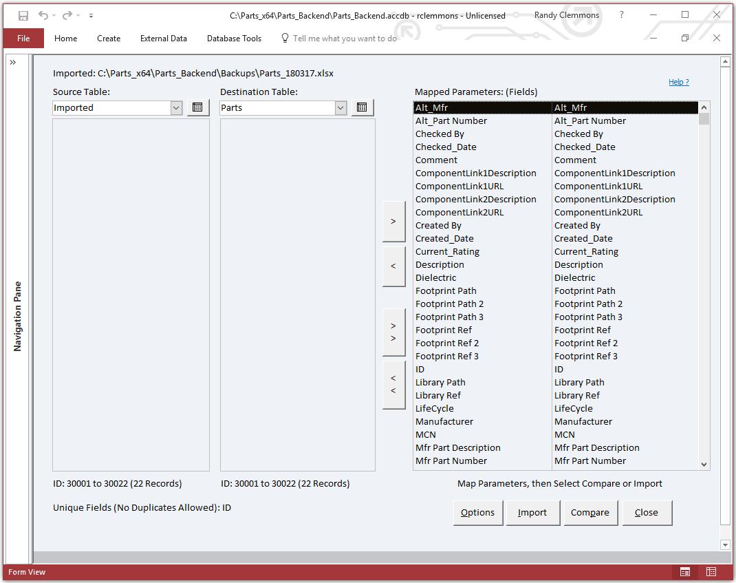 Parts Import Excel