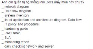 Một số mẫu tài liệu dành cho người quản trị hệ thống