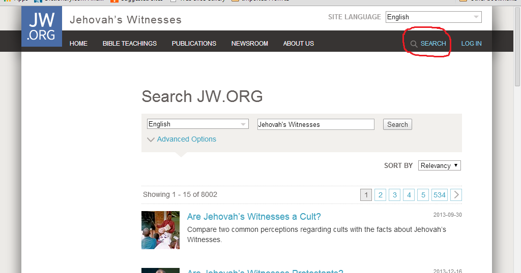 Defend Jehovah's Witnesses: New Search Engine Feature At