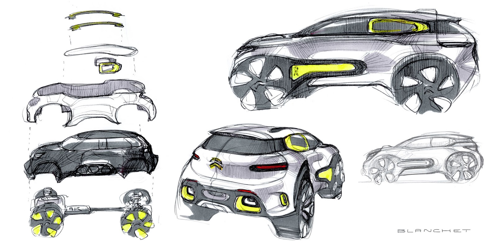 Citroen Aircross concept 2015 idea sketches by Gregory Blanchet