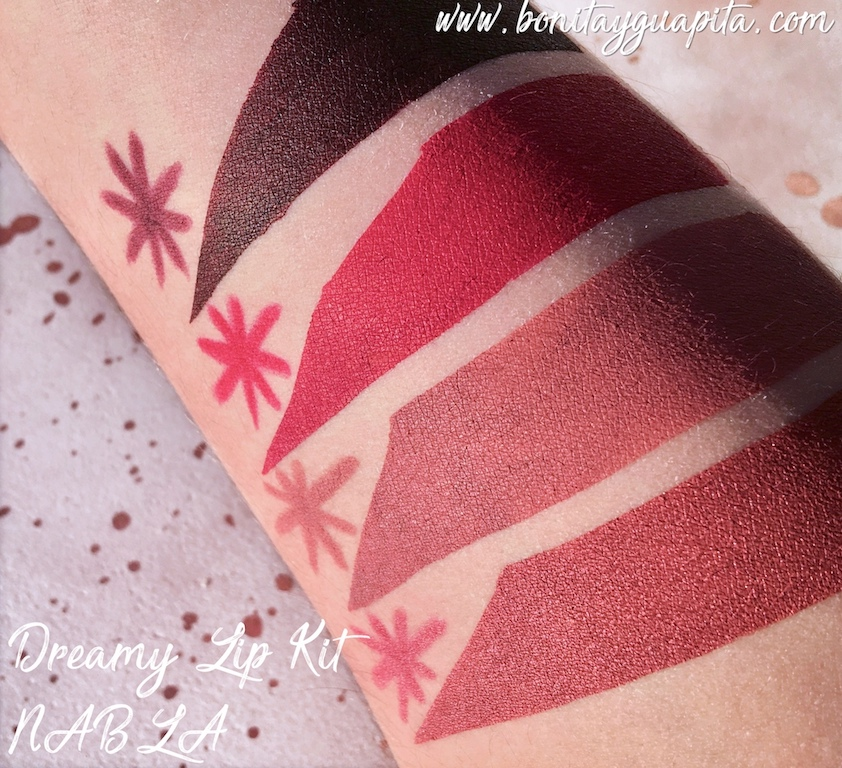 swatches nabla dreamy lip kit