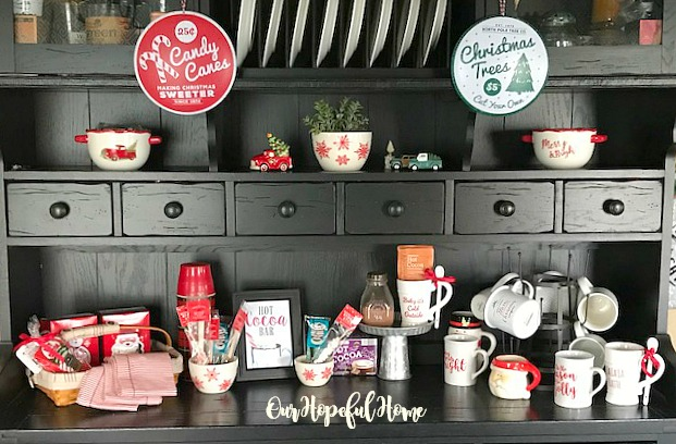 black kitchen hutch cocoa bar Target marshmallows Starbucks cocoa Wal-Mart cocoa mugs