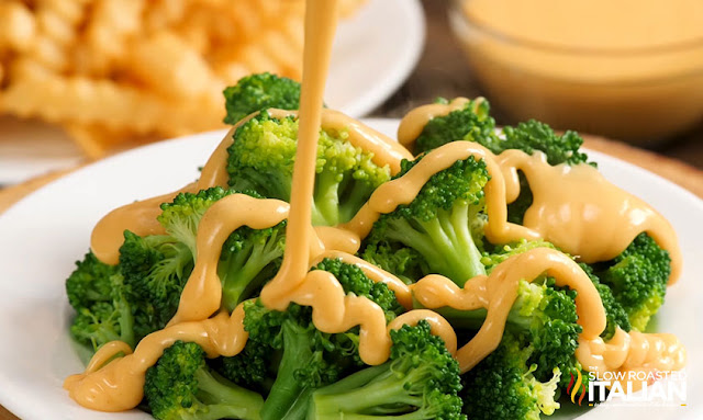 Cheese Sauce Recipe poured over broccoli