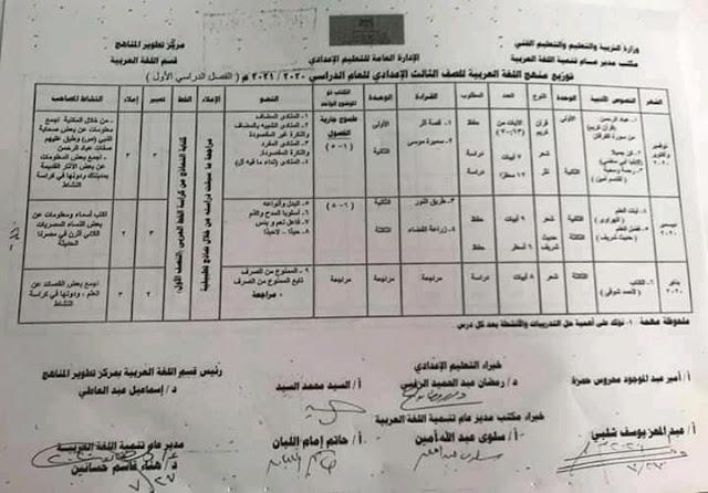 توزيع منهج اللغة العربية للمرحلة الاعدادية 2021