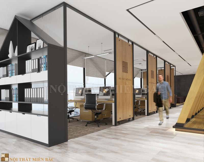 Thiết kế nội thất phòng làm việc không gian mở