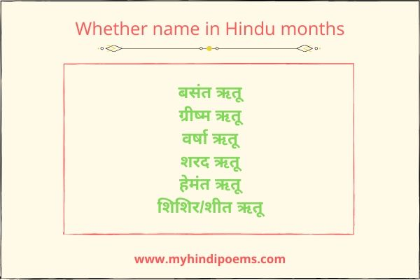 Whether name in hindu months