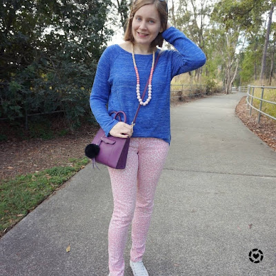 awayfromblue Instagram | colourful winter mum style pink leopard print jeans cobalt knit purple plum rebecca minkoff mini mab tote bag