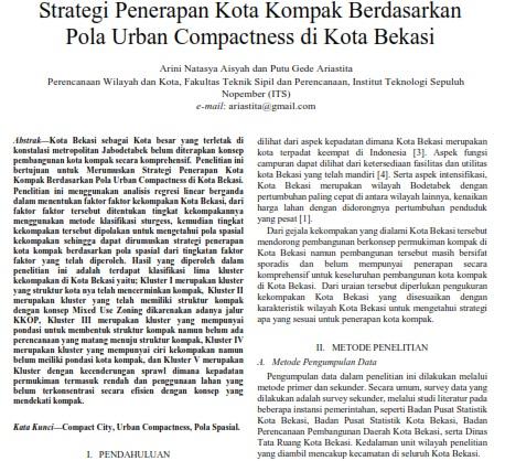 Strategi Penerapan Kota Kompak Berdasarkan Pola Urban Compactness di Kota Bekasi [Paper]