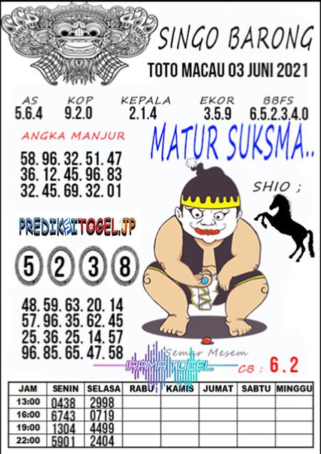 Syair Top Singo Barong Toto Macau Kamis 03 Juni 2021