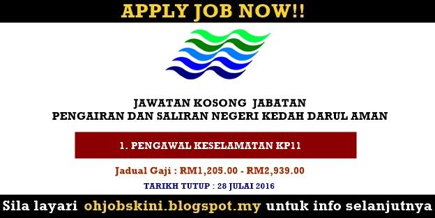 Jawatan Kosong Jabatan Pengairan dan Saliran Negeri Kedah