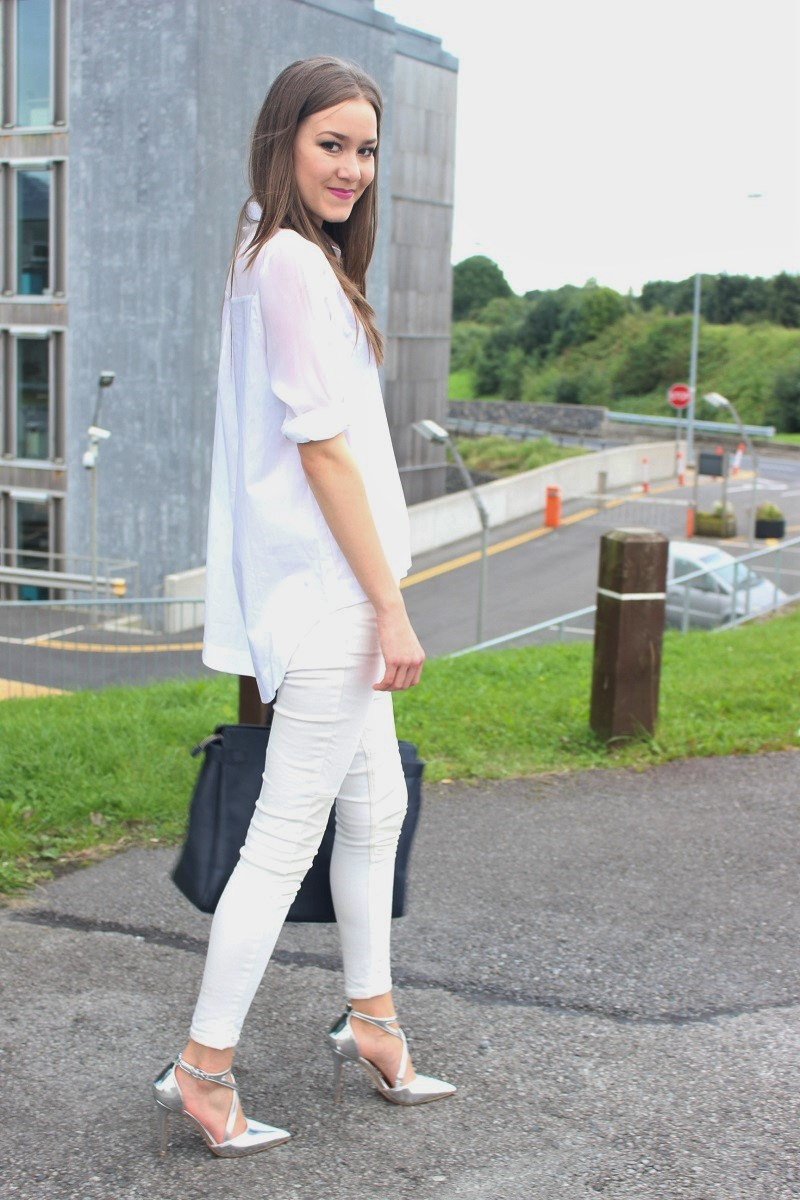 how to wear silver heels, all white outfit, ootd