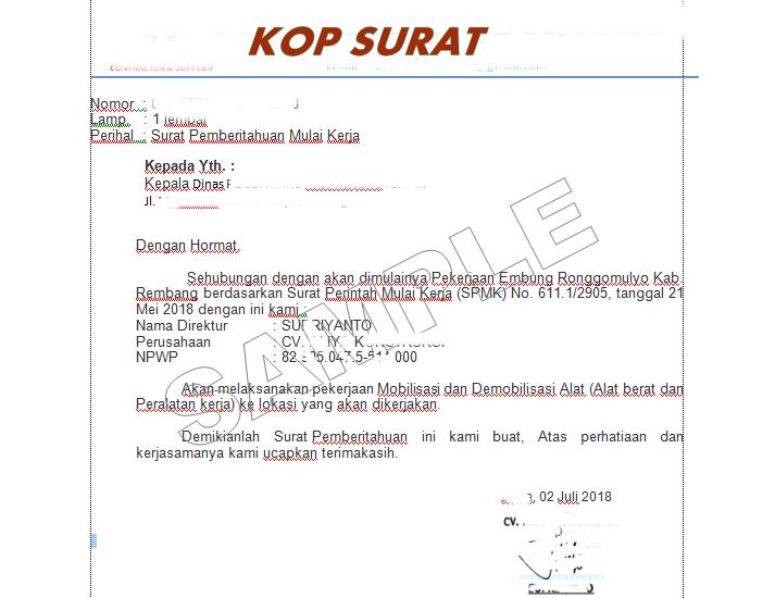 Form Contoh Surat Ijin Memulai Pekerjaan Proyek Tatausahanet