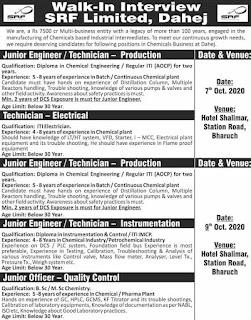 SRF Limited,  Dahej, Gujarat Walk ln  interview, Permanent Job For ITI, Diploma, B.Sc/M.Sc Candidates
