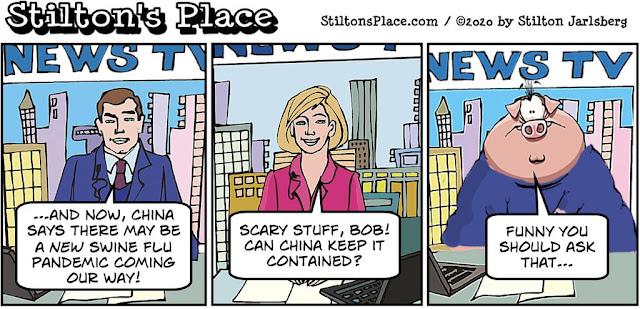 stilton's place, stilton, political, humor, conservative, cartoons, jokes, hope n' change, swine flu, china, pandemic