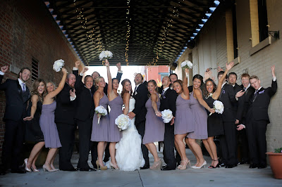 wedding party tux and purple dresses sioux city