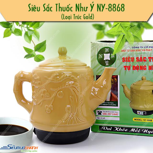 Ấm sắc thuốc Như Ý NY-8868 Gold Tùng Trúc thiết kế sang trọng - Tp.HCM