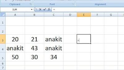 memulai untuk membuat Rumus Penjumlahan di Excel