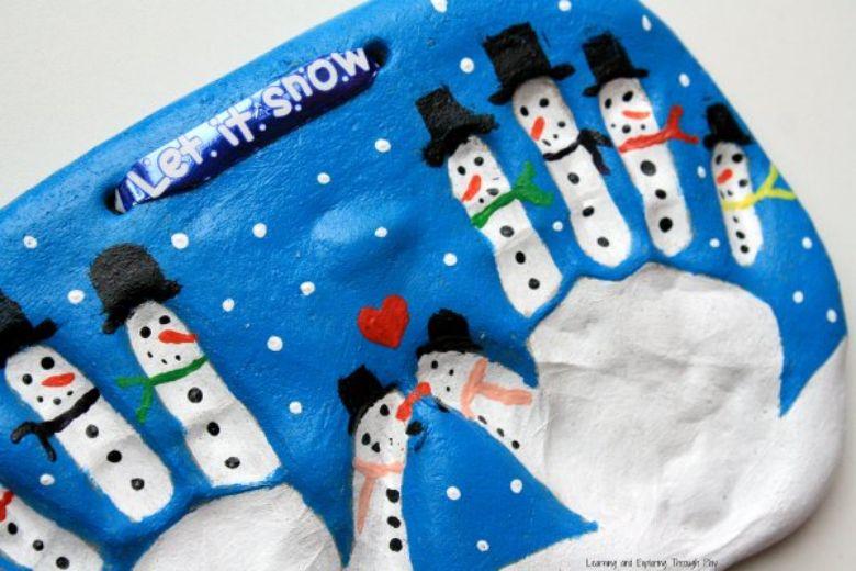 Snowman salt dough handprints craft