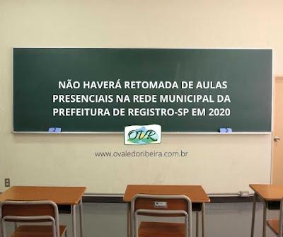 Não haverá retomada de aulas presenciais na Rede Municipal da Prefeitura de Registro-SP em 2020