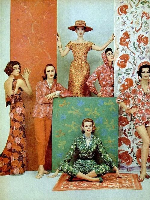 glamorous vintage colorful fashion photo by Francesco Scavullo, 1957