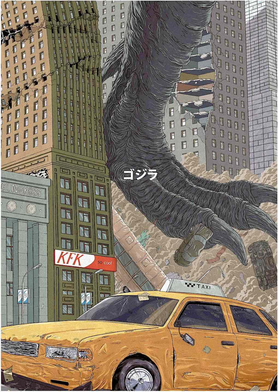 Valeri Zarytovski art, Godzilla's foot crushes buildings