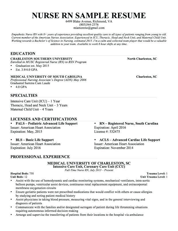 Sample Icu Nurse Resume Critical Care Nursing Examples Jobresumewebsite