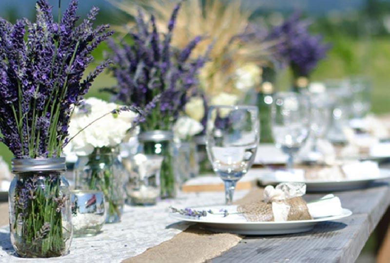 decorazioni tavola con fiori di lavanda