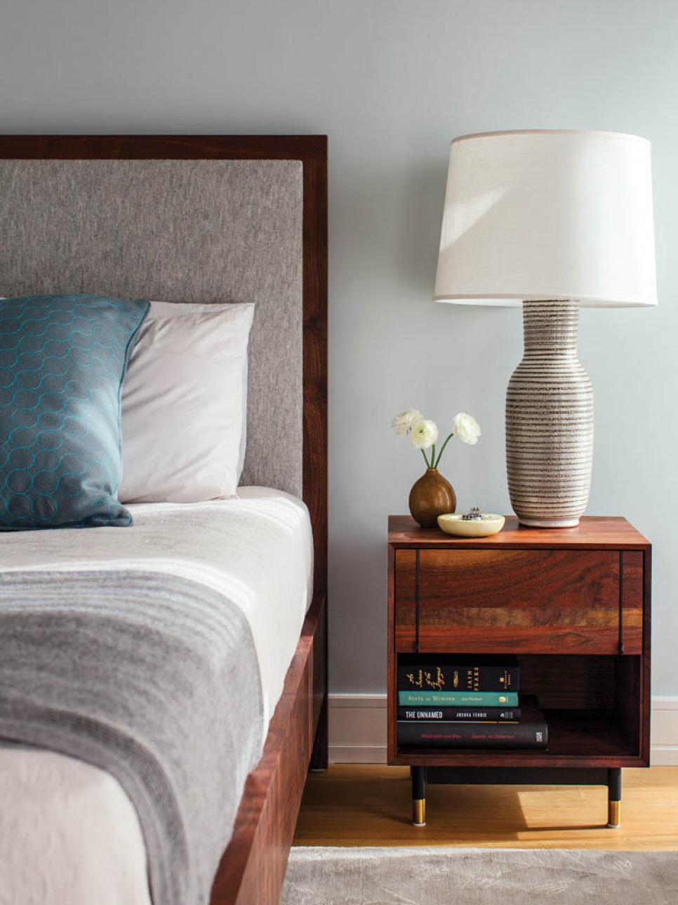 Uncluttered bedroom with soothing color palette
