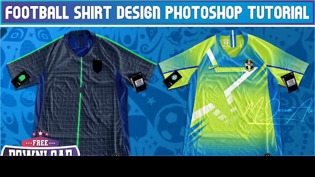 Colorful Football Shirt Design Tutorial + Free Yellow Image Mockup Download by M Qasim Ali